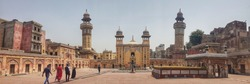 The Wazir Khan Mosque,located in the walled city of Lahore, capital of the Pakistani province of Punjab. Pakistan. Panorama of the mosque's courtyard facing towards the mosque's prayer hall.