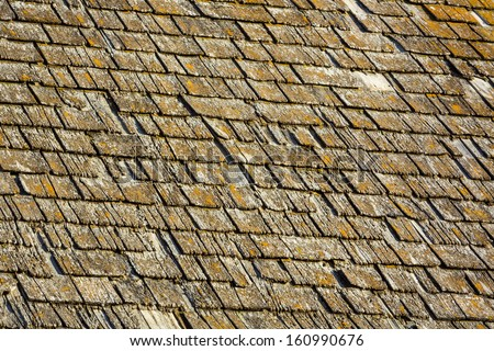 The weathered wood shingles on an old roof