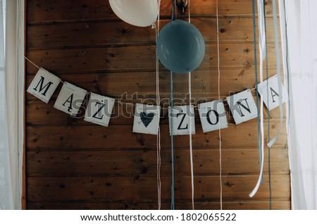 The wedding inscription mąż i żona means husband and wife Zdjęcia stock ©
