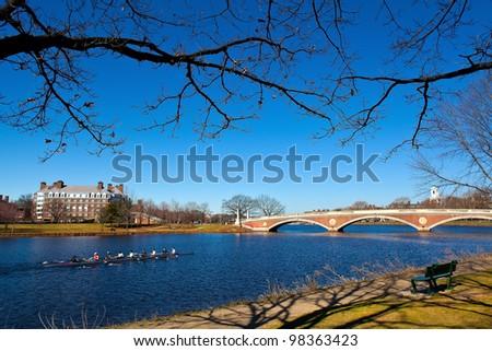 The Weeks Memorial Footbridge in Boston, Massachusetts.