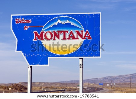 The welcome sign at the Montana state line. - stock photo