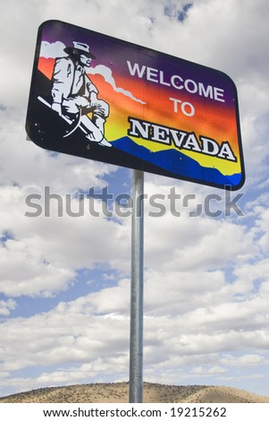 The 'Welcome to Nevada' sign located at Lake Topaz on the border of California and Nevada on Highway 395.