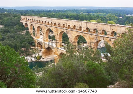 "The well-known antique bridge-aqueduct ""Pont du Gard"" in Provence"