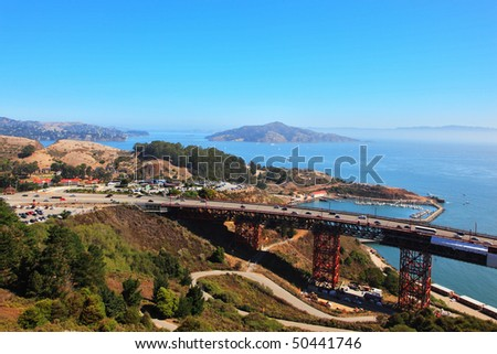 The well-known bridge Golden Gate in San Francisco. A morning fog