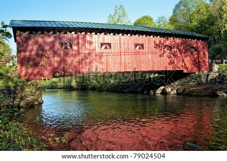 The West Arlington Covered Bridge which spans the Battenkill River in Arlington, Vermont