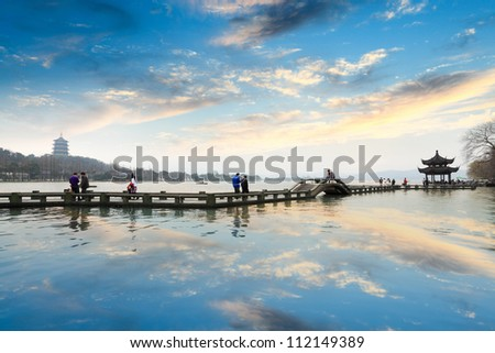 the west lake at afterglow in hangzhou,China
