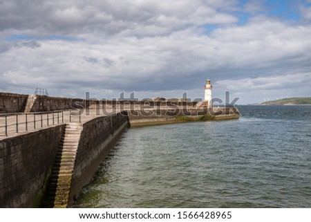 The West Pier and the West Pier Lighthouse in Whitehaven, Cumbria, England, UK #1566428965