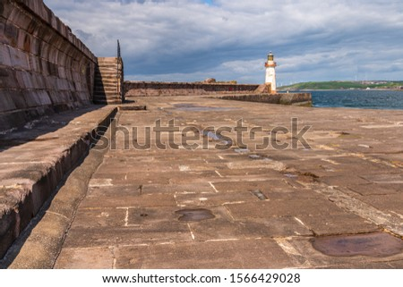 The West Pier and the West Pier Lighthouse in Whitehaven, Cumbria, England, UK #1566429028