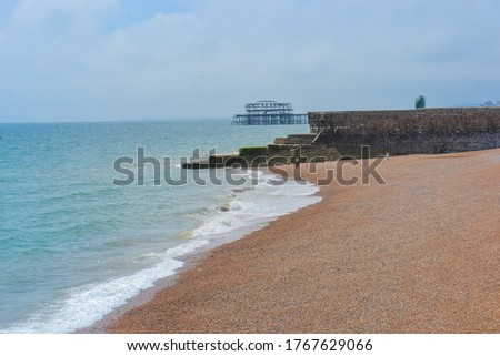 The West Pier is a pier in Brighton, England. seagull as a symbol of brighton