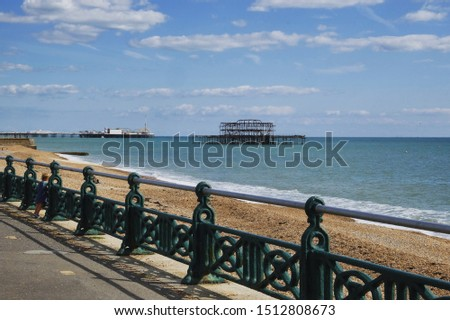 The West Pier with the Palace Pier in the background, Brighton and Hove seafront, UK #1512808673