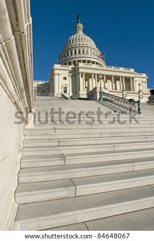 The western facade and dome of the US Capitol in Washington, DC.