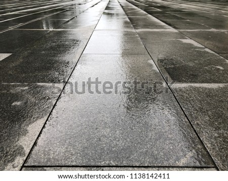 The wet tile floor, after the rain.