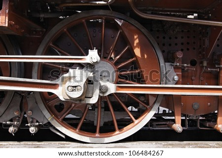 the wheels of an old steam engine