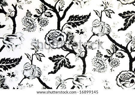 white and black wallpaper. stock photo : The white and black wallpaper with peony painting pattern.