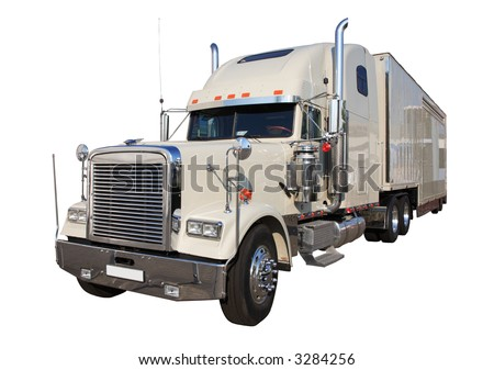 The white auto truck on a white background, Isolated, with a Clipping Path.
