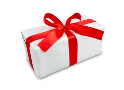 the white box with a red ribbon and bow