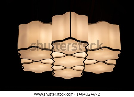 The white  Ceiling lamp or ceiling light  with dark background. #1404024692