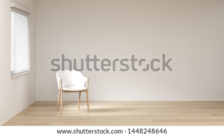 The white color in the room is empty. On the wooden floor without furniture 3d rendering modern empty home design Сток-фото ©