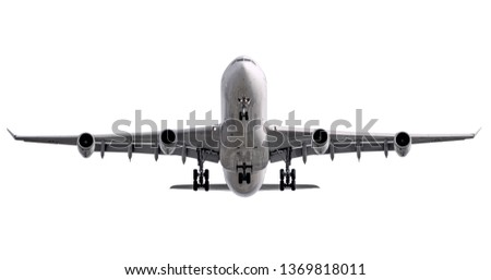 The white four jet engines airline plane take off from runway front view isolated background