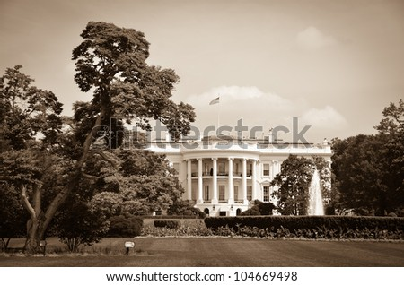 The White House in sepia - Washington DC United States