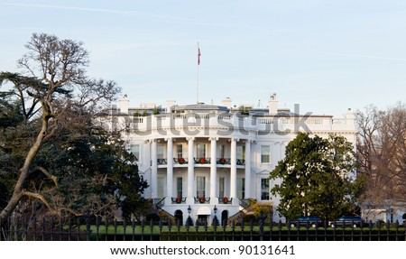 The White House in Washington DC at Christmas as the tree is decorated