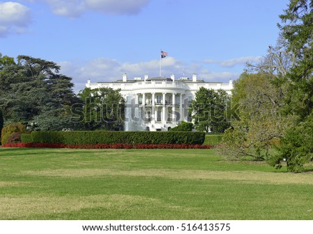 The White House in Washington DC, is the home and residence of the President of the United States of America and popular tourist attraction #516413575