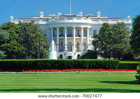 stock photo   the white house in washington dc with beautiful blue sky