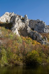 The white limestone rocks of Cherepish in autumn, Bulgaria, Europe