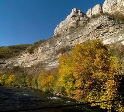 The white limestone rocks of  Lakatnik in autumn, Bulgaria, Europe