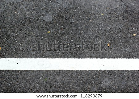 The white line painted on road