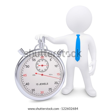 The white man and the metal stopwatch. Isolated render on a white background