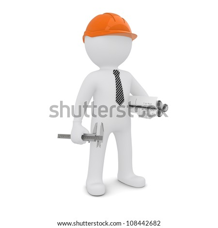 The white man in an orange helmet is a drawing and a caliper. Isolated on white background