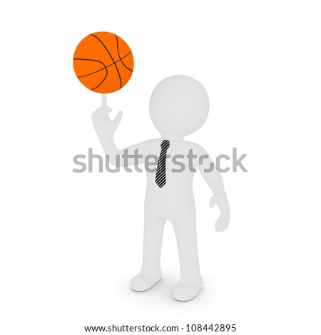 The white man keeps his finger on a basketball. Isolated on white background
