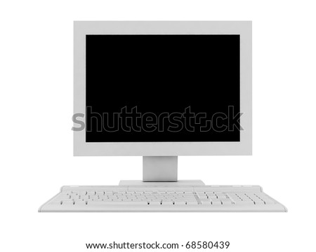 The white monitor and keyboard
