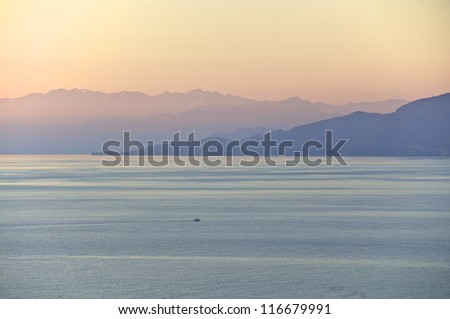 The White Mountains on Crete at sunset with view to the Libyan Sea
