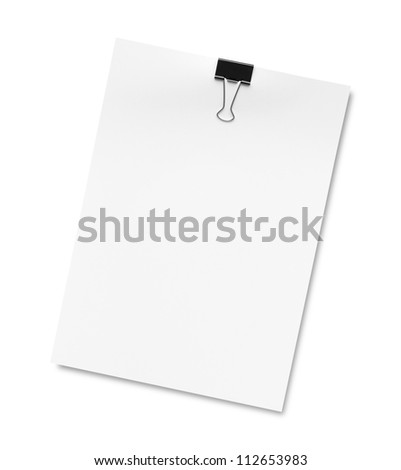 The white paper notes isolated on white background