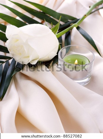 The white rose on a cream silk with a lighted candle