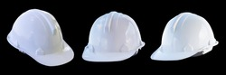 The white safety helmet isolated on black background