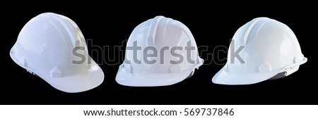The white safety helmet isolated on black background #569737846