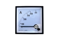 The white scale of analog ammeter with zero position of the indicator, isolated on white background.