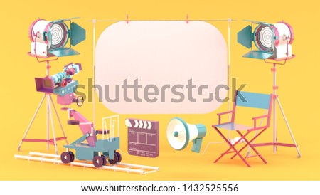 The white screen is surrounded by a movie camera, a spot light, a chair and a megaphone on a orange studio.-3d rendering.
