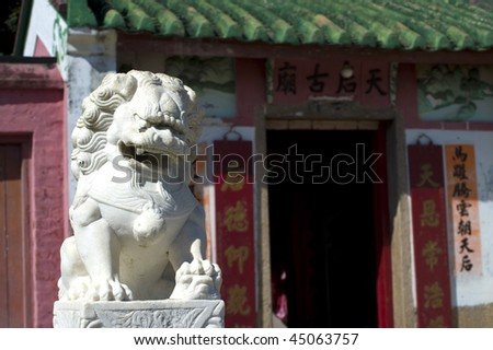stock-photo-the-white-stone-chinese-guardian-lion-in-front-of-tin-hau-temple-in-ma-wan-fish-village-of-hong-kong-45063757.jpg