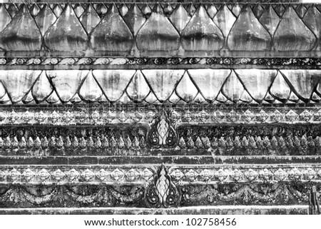 The White stucco design of native thai style on the Wall Ancient texture