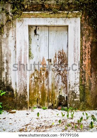 The white wooden door on the old walls