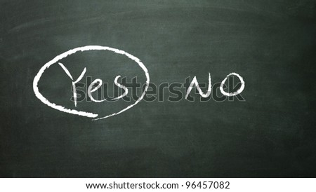 the white yes symbol in the blackboard