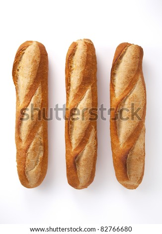 The whole bread on a white background.