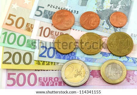 The whole euro notes and coins collection