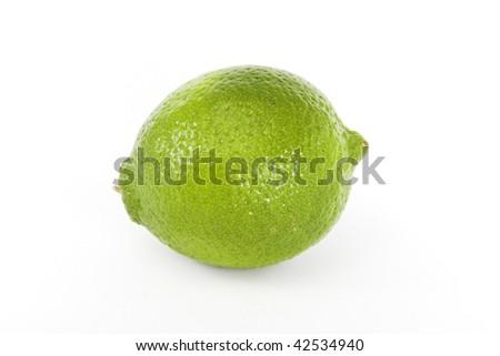 The whole fresh lime fruit on white background - stock photo