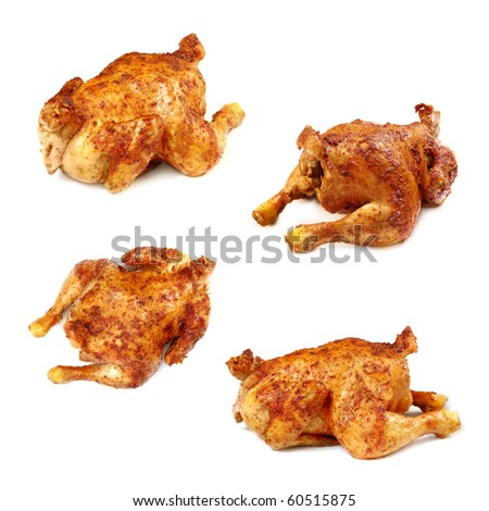 The whole fried chicken on a white background