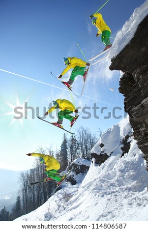 The whole jump of skier from high cliff
